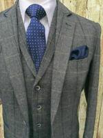 Men's Grey Suits Tweed  Waistcoat Windowpane Groom Best Man 3 Pieces Slim fit