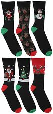 Atano 6 Pack Cotton Rich Mens Festive Christmas Socks