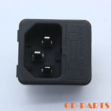 2PC IEC320 C14 Male AC Power Cord Inlet Mains Socket With Fuse Holder 250V 10A