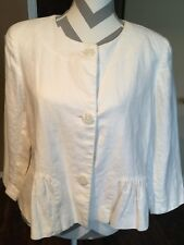 Worthington White Linen Lined Peplum Jacket