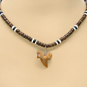 """Fossil Shark Tooth Surfer Necklace Lengths 18"""" 21"""" 24"""" Puka Shell Coconut Bead"""