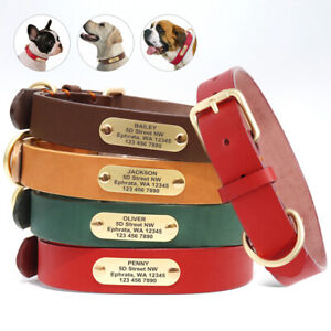 Leather Dog Personalized Collar Adjustable with Engraved Name ID Tag Heavy Duty