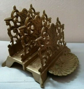ORNATE VINTAGE BRASS LETTER RACK 2 DIVISIONS WITH SCALLOP SHELL STAMP TRAY.