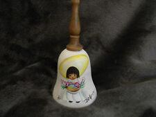 Vtg De Grazia Signed Sandstone Bell - Hand Painted Girl w/Flowers/Wooden Handle