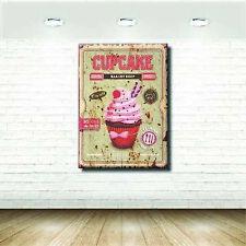 Quadri Vintage Shabby Cupcake Pasticceria Cucina Stampa su tela Arte Arredo -...