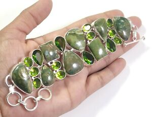 Ocean Jasper Green Peridot Gemstone Handmade Jewelry Silver Bracelet B-354