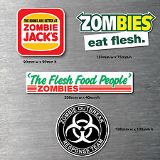 Zombie 4 pack stickers 7yr water/fade proof vinyl jdm drift funny