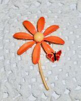 Vintage Enamel DAISY FLOWER BUTTERFLY Brooch Pin Orange Yellow Red  A58