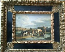 "David Johnson Signed Listed Artist Oil Painting ""Crossing the River""."