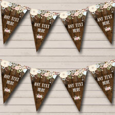 Party Banner Bunting Rustic Wood Floral Personalised Tea