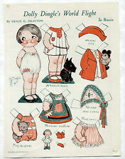 Vintage DOLLY DINGLE'S WORLD FLIGHT paper dolls 1933 uncut RUSSIA/Russian Deco