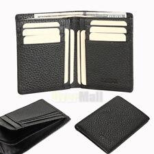 New Mens Slim Black BIFOLD WALLET Solid Buffalo Leather Credit Card Money Holder