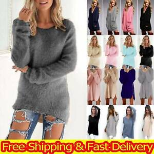 Womens Long Sleeve Dress Knitted Sweater Pullover Casual Baggy Jumper Tunic Tops