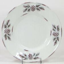 "Decorative Concepts WHITE PINE 8.5"" Salad Plate Embossed Pinecone Cones Antique"