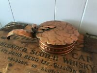 Vintage Gregorian Solid Copper Made in USA Silent Butler Ash Crumb Pan Lidded