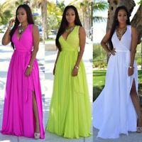 robe longue bohème mousseline de soie Boho Summer Maxi Sexy Soirée Beach