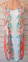 Katies Dress Shift Pencil Floral Size 12 medium pink white blue Sleeveless satin