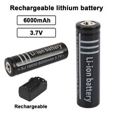 18650 Li-Ion Battery 3.7V 6000mha Rechargeable Power Supply Black For Flashlight