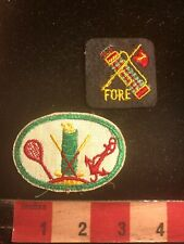 Golf Patch Lot - Both Have A Golfer Bag On Them L, One Says Fore C98S