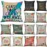 "18"" free spirit Letter Cotton Linen Pillow Case Cushion Cover Sofa Home Decor"