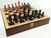 "Sheesham Black 4.5"" Anderssen Staunton Wood Chess Set Large Walnut Color Storage"