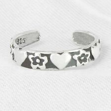 Hearts & Flowers Toe Ring in Solid 925 Sterling Silver