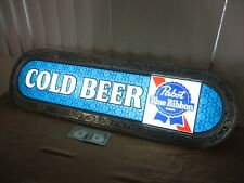 """Vintage PABST BLUE RIBBON Cold Beer Embossed Light-Up Store Advertise Sign 40"""""""