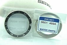 SEIKO GENUINE BEZEL - PART #8601 469A -STAINLESS STEEL/BLACK - FOR SKX007 - NEW