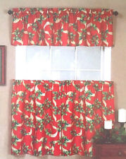Christmas Curtains Valance Red Holly and Ribbons Printed 3 pc Set NEW Elrene