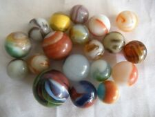 19 FABULOUS RETRO VINTAGE COLORFUL SWIRL GLASS MARBLES