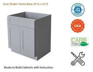 "Gray Shaker Vanity Base Cabinet 24""W x 21""D x 34 1/2""H"