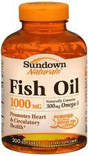 Sundown Fish Oil 1000 mg Softgels Cholesterol Free 200 Soft Gels (Pack of 3)