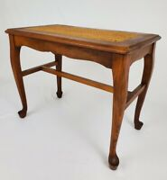 Vintage Thonet Cane Top Side Table Piano Bench Queen Anne