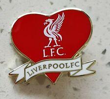 Liverpool FC Offiziell Rot und Weiß Herz Form Anstecknadel - Liverbird Lfc