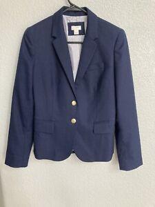 J CREW Navy School Boy  Blazer Jacket Red Blue & White Striped Lining Size 4