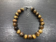 Tiger Eye Natural Gemstone Bead Bracelet Healing Chakra Yoga Buddha Reiki Om