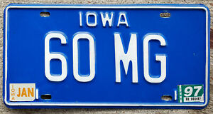 "1979 Iowa VANITY License Plate ""60 MG"" 1960 Morris Garages UK Sports Car"