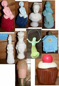 Lot of 10 Vintage Avon Cologne Perfume Bottles Figurines Skaters Jump Rope Girl