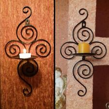 Iron Scroll Candle Holder Candlestick Wall Hanging Sconce Wedding Home Decor NEW