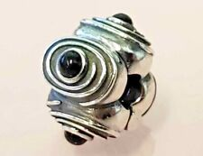 PANDORA | BLACK ONYX HYPNOTIZE CLIP *NEW* 790560ON RARE RETIRED SILVER SWIRLS US