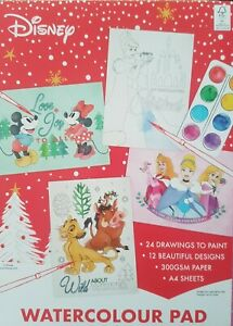 24 disney A4 Watercolour painting paper pad lion king Mickey Minnie Christmas