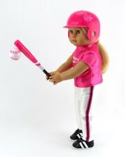 "3 Pc -Pink Baseball/Softball Bat, Ball & Helmet Fits American Girl & 18"" Dolls"