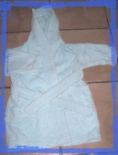 Peignoir de bain 24 mois 2 ans bleu turquoise en éponge avec capuche