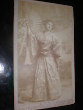 Boudoir Cabinet photograph woman kimono fan Window & Grove c1890s