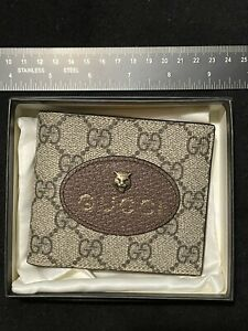 🔥🔥Authentic New GUCCI Brown Leather Italy Feline cat Wallet 🔥🔥yellow Inside