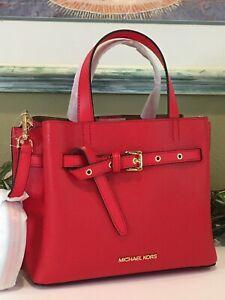 MICHAEL KORS EMILIA SMALL SATCHEL CROSSBODY SHOULDER BAG BUCKLE DARK SANGRIA RED