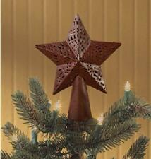 "PRIMITIVE COUNTRY METAL PUNCHED STAR TREE TOPPER 6.5""IN WINE Red BY PARK DESIGNS"