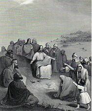Antique religious print :Jesus /Sermon on the Mount/Sermo in monte Matthew 1864