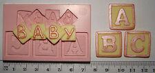 Molde de Silicona Bebé carta ABC bloque Baby Shower Bautizo Magdalena Fimo Topper