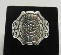 STERLING SILVER RING SOLID 925 BAND MEXICAN STYLE SIZE L - Z++
